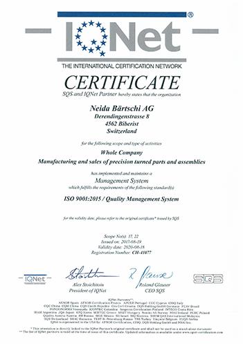 Zertifikat IQNet